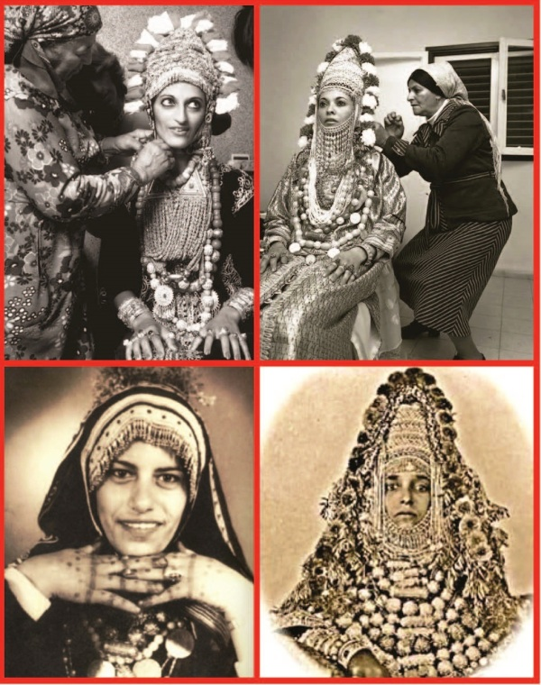 Yemenite Jewish Women Wearing Traditional Bridal Crowns
